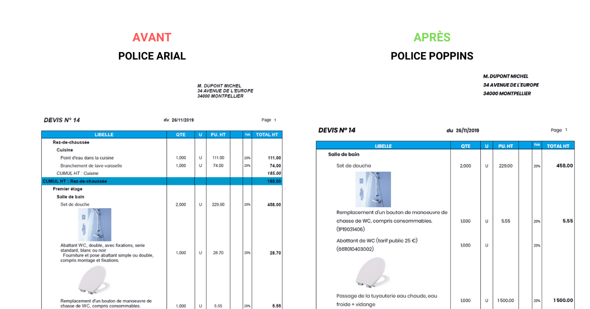 police ecriture mise en forme devis facture