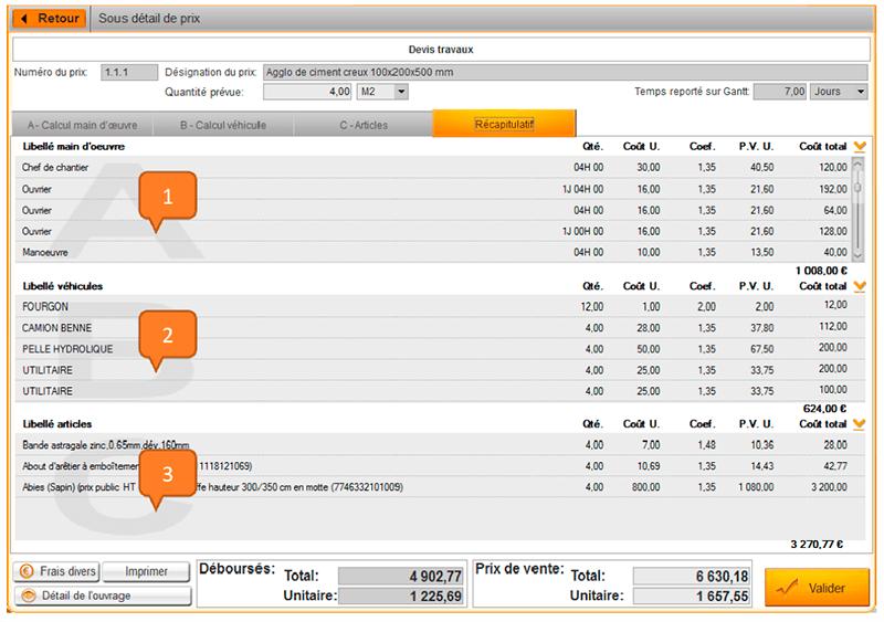 Aide au calcul des coûts - Fenêtre récapitulative