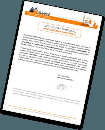 Attestation logiciel certifié batiment