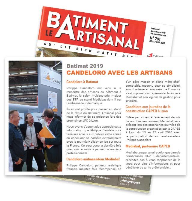On parle de Mediabat, de son ambassadeur Philippe Candeloro et de leur présence au salon Batimat dans le dernier numéro du Bâtiment Artisanal