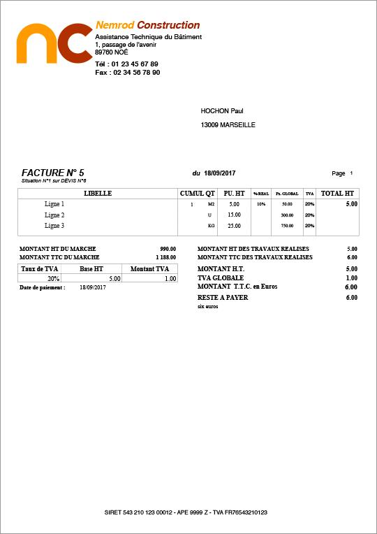 Exemple de facture de situation bâtiment btp